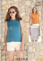 Sirdar Cotton DK Knitting Pattern - 7082 Summer Top with Skirt Knitting Pattern